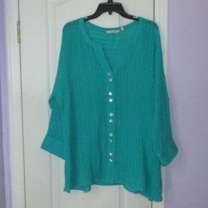 Soft Surroundings linen blend blouse